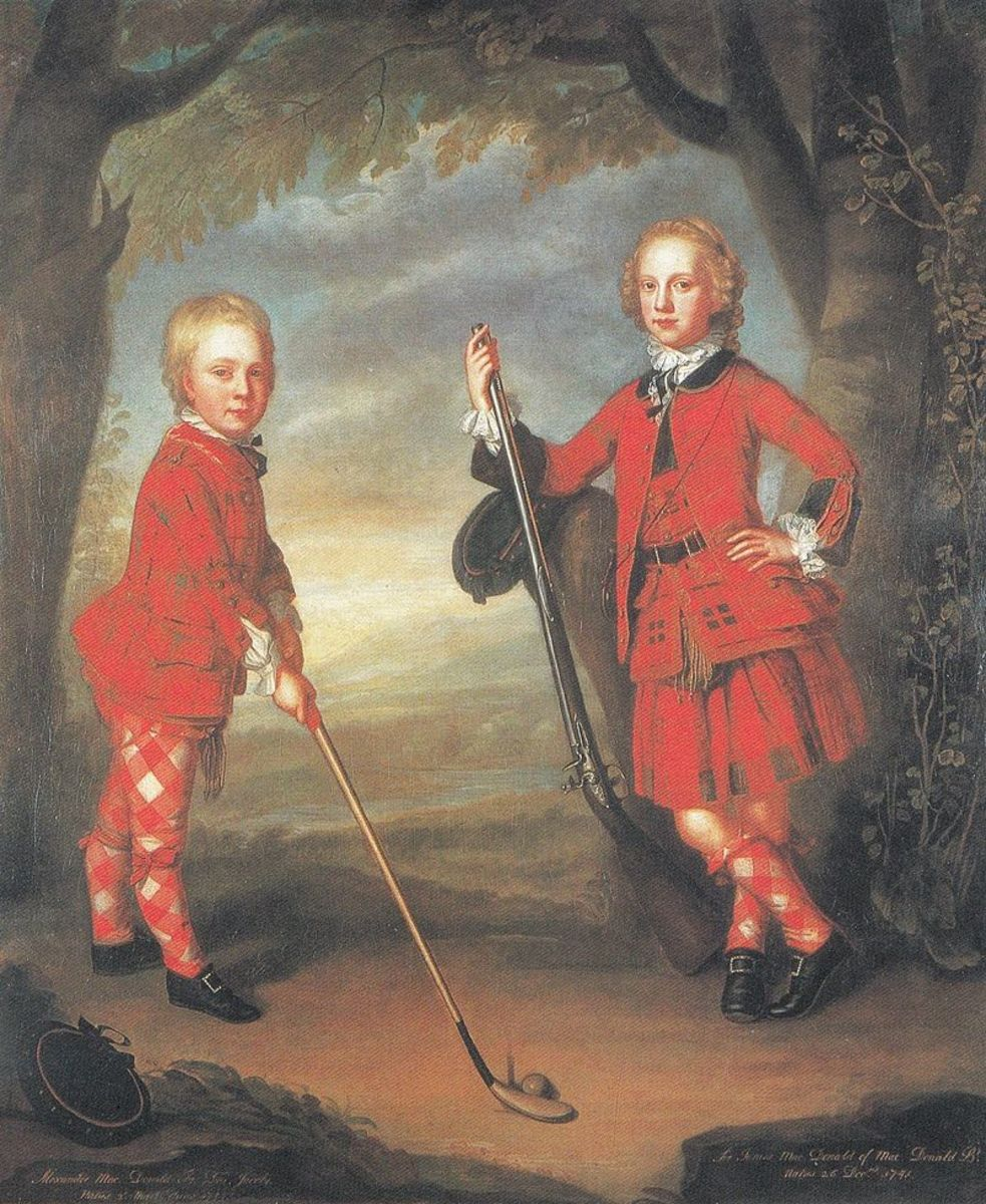18th century MacDonald golfing boys, although what the older lad is going to do with the flintlock is anybody's guess.