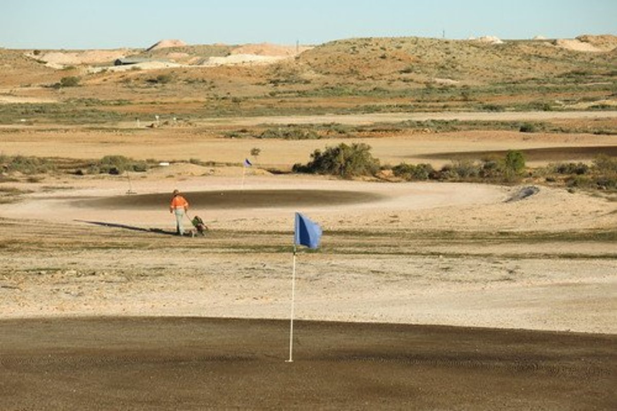 This is the Coober Pedy Golf Course in Australia. It's grassless and has no irrigation.