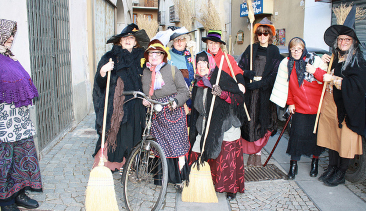 Italian ladies dressed like la Befana on January 6.