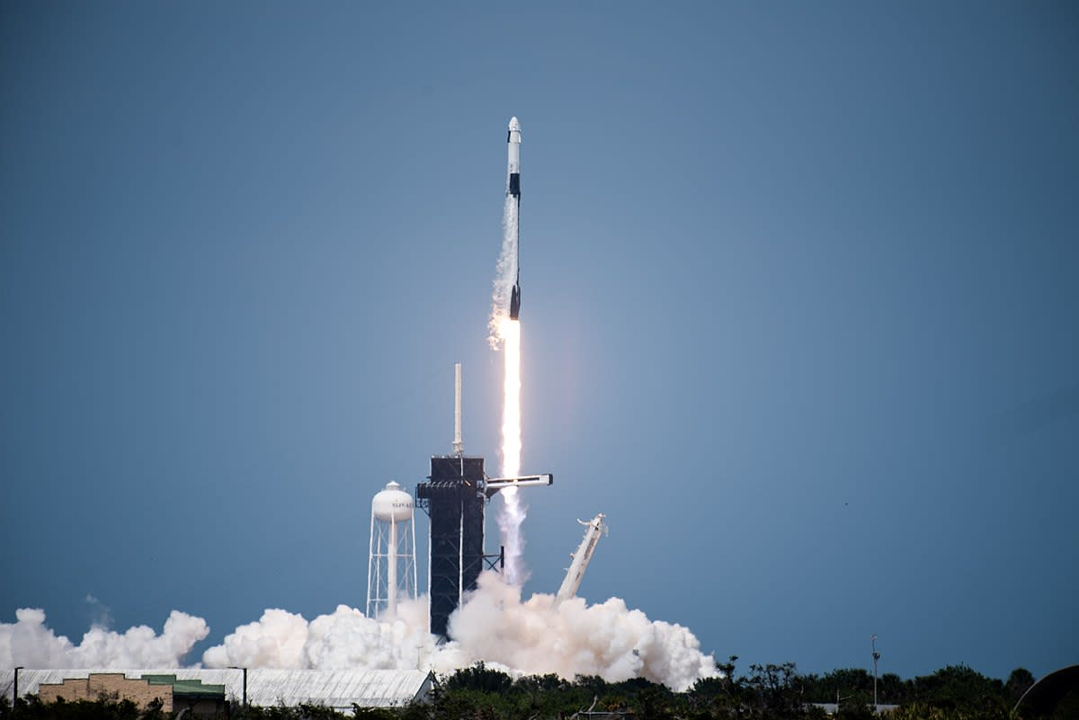 The SpaceX Falcon 9 rocket carrying NASA astronauts Bob Behnken and Doug Hurley to the International Space Station on the Demo-2 mission on May 30, 2020.