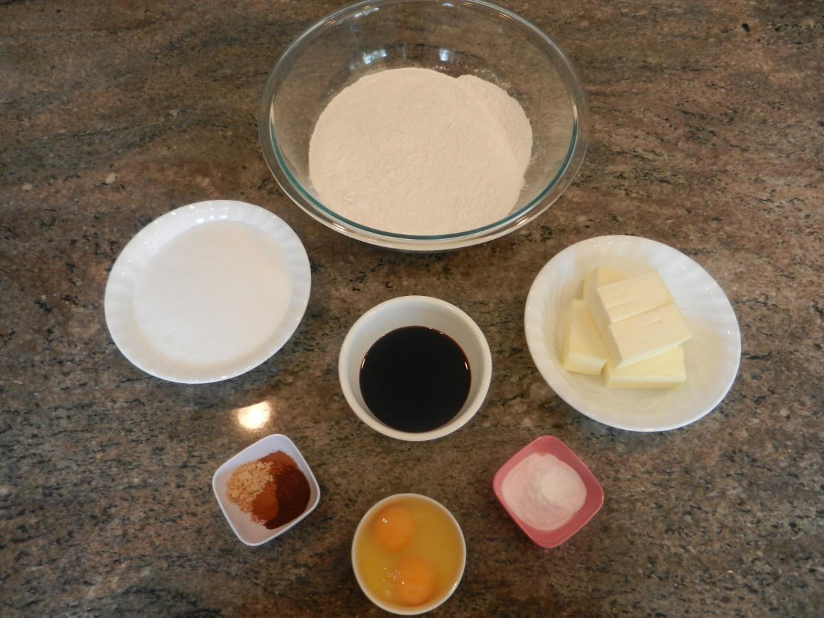 Ingredients for molasses sugar cookies