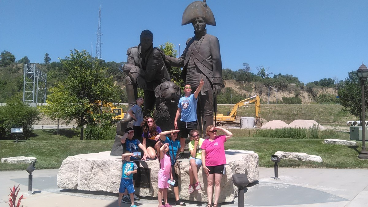 Family poses as explorers with Lewis and Clark