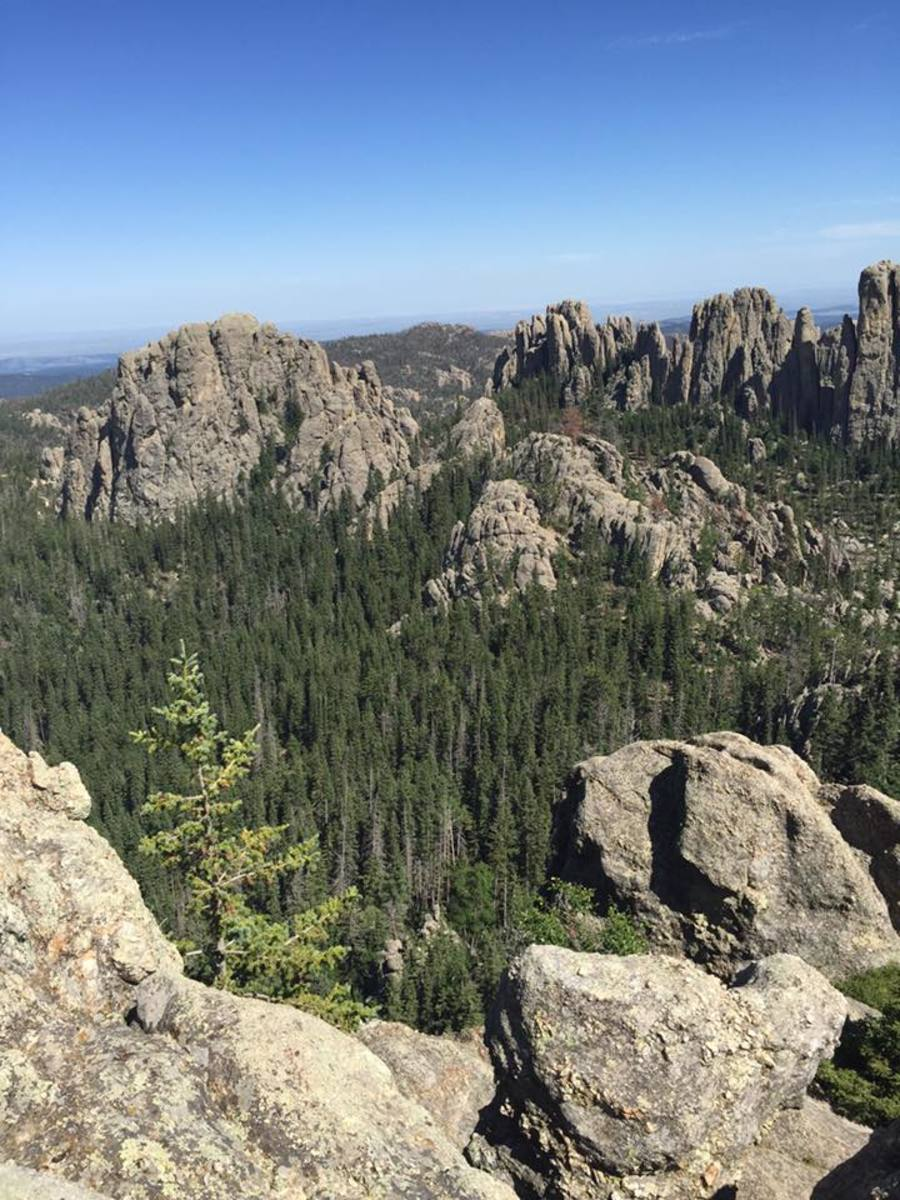 Awesome view from top of Little Devil's Tower near Harney Peak