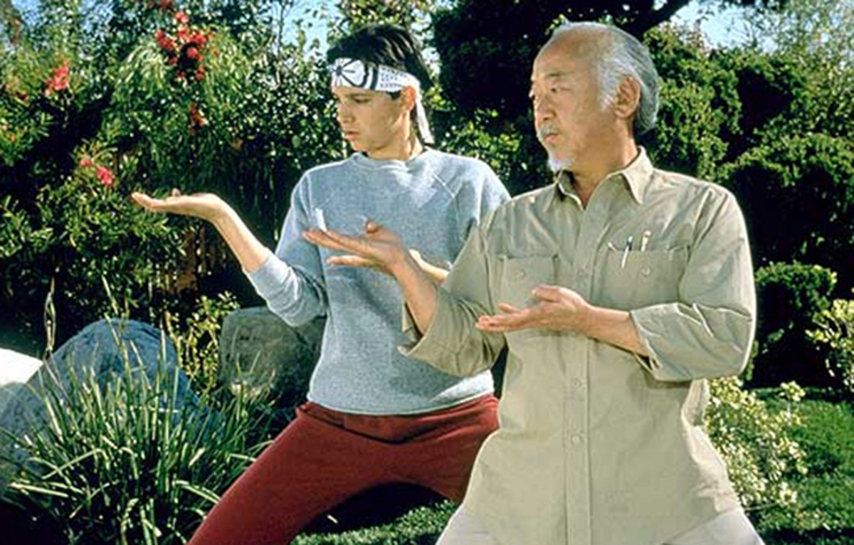 Pat Morita (right) is fantastic as Mr Miyagi, one of cinema's greatest mentors as well as breaking many stereotypes about Japanese characters in movies.