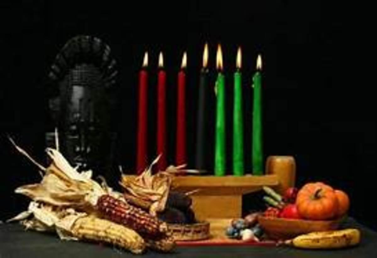 The Kwanzaa table displays the traditional Kwanzaa gifts.
