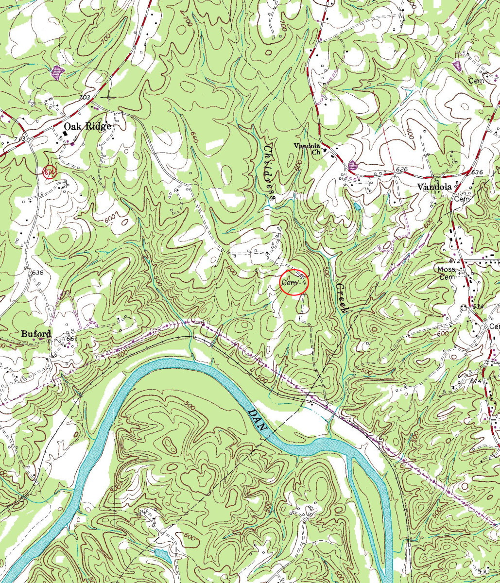 Topographical map of the Dan River