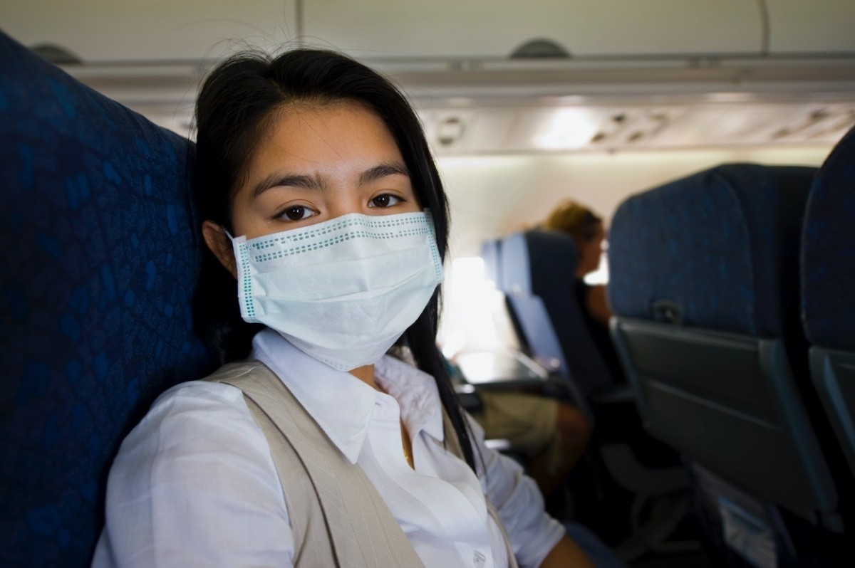 Follow airplane guidance regarding wearing a mask while flying.