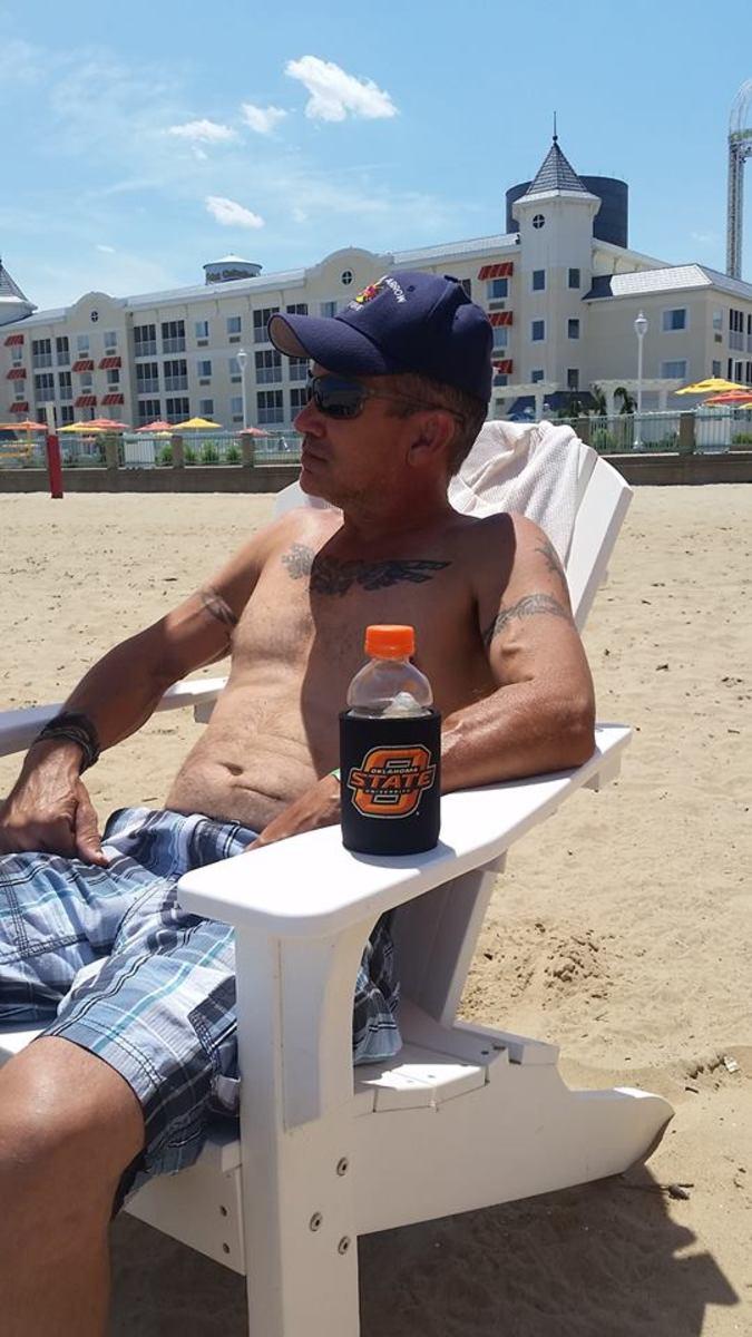 My husband on the same beach in 2016.