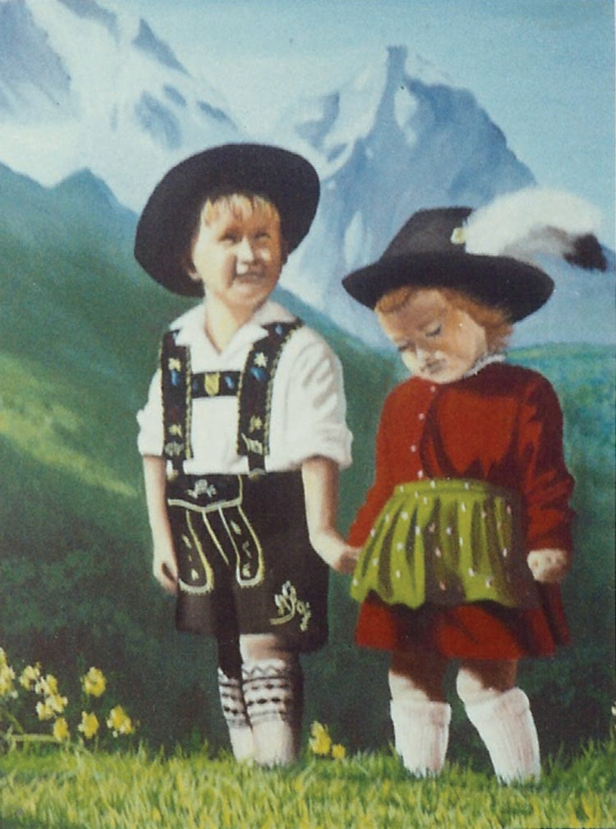 My oil painting of the Swiss kids.