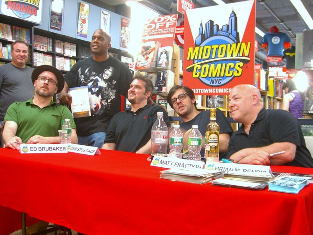 From the left to right: Writers Ed Brubaker , Christos Gage , Matt Fraction and Brian Michael Bendis at a book signing at Midtown Comics Times Square in Manhattan, June 21, 2010.