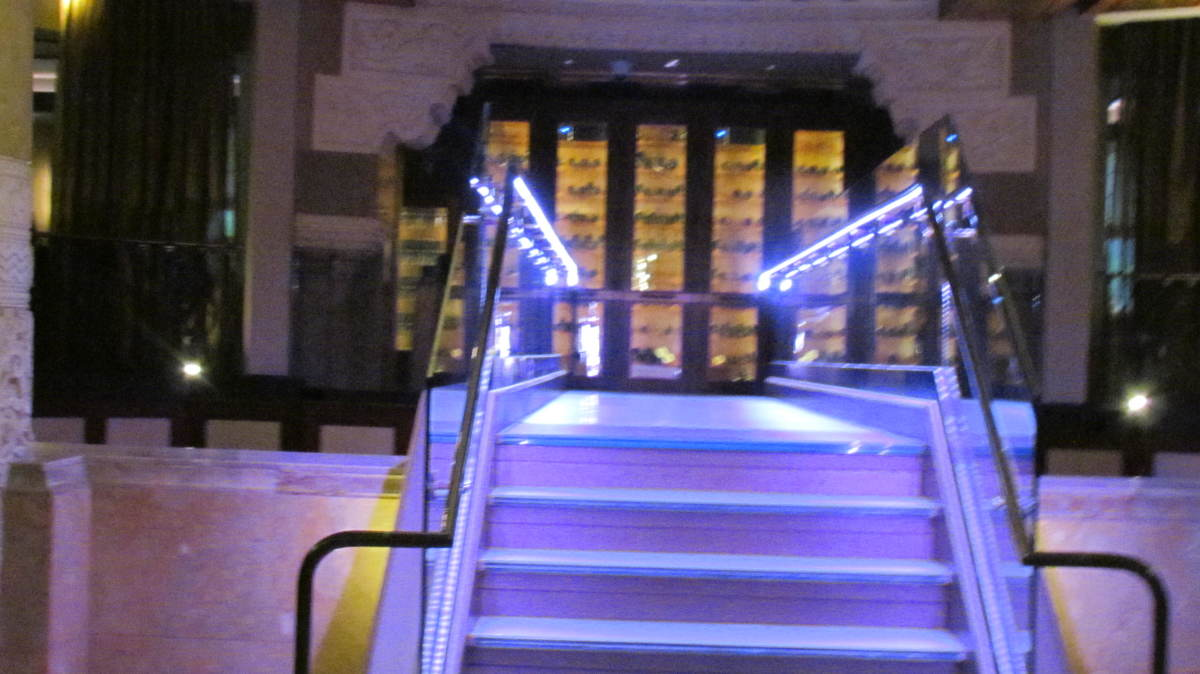 A well lit stairway that leads you to  some of the best steaks, pork belly, seafood and desserts. Michael Jordan's luxury Steakhouse is located at 505 N. Michigan Ave., downtown Chicago. This 4.4 star restaurant is spectacular wedding venue as well.