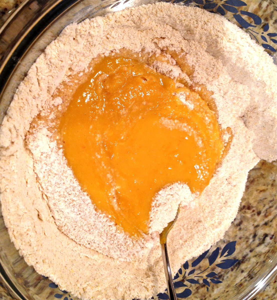 Pour wet ingredients into dry ingredients and stir just until combined. Be careful not to over stir.
