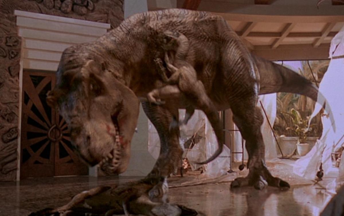 A Jurassic Park scene, where an unfortunate Velociraptor attempted to claw a T-rex.