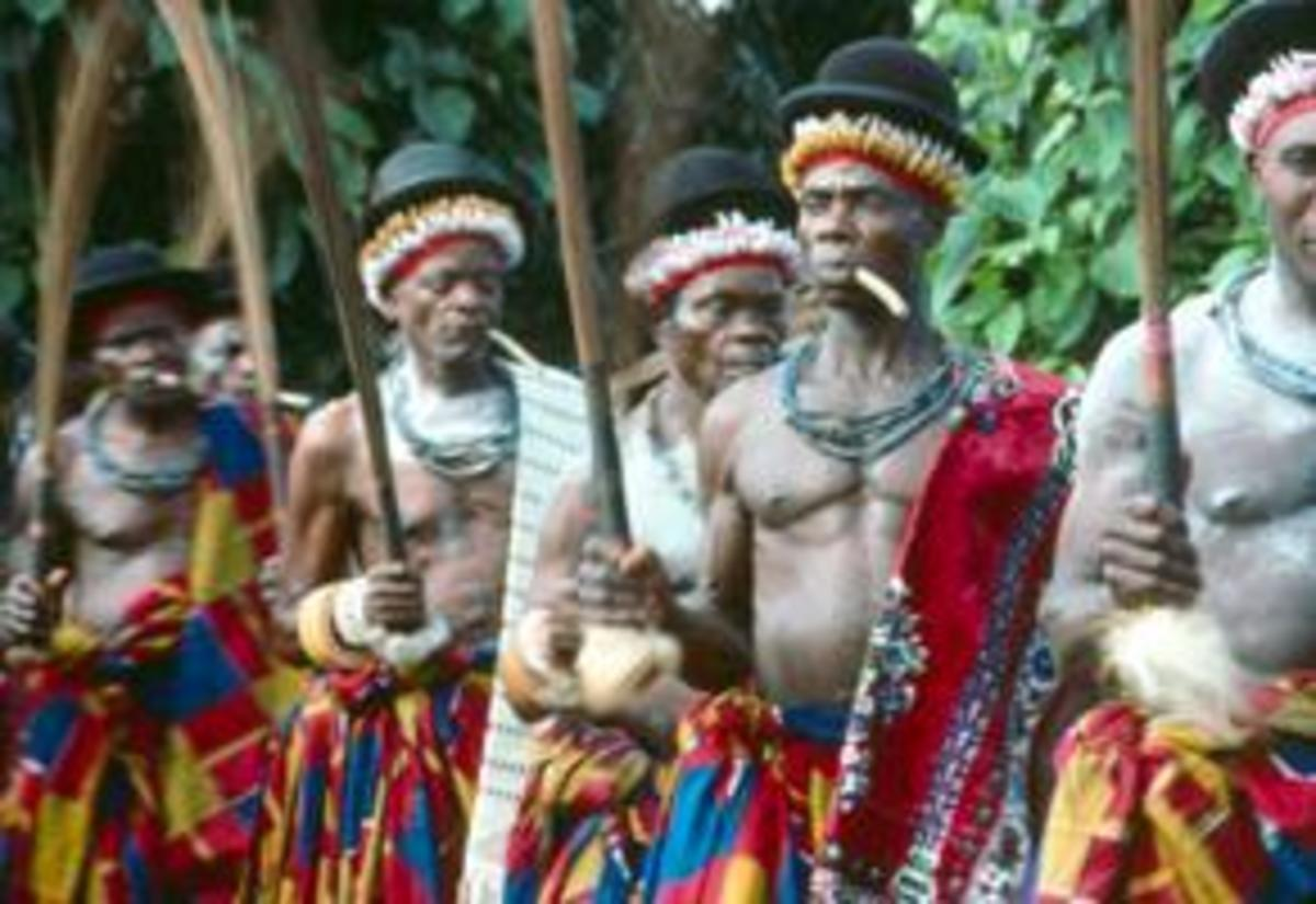 An image of the dancers involved in the Yam Festival.
