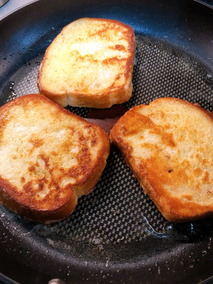 The French toast is cooking.