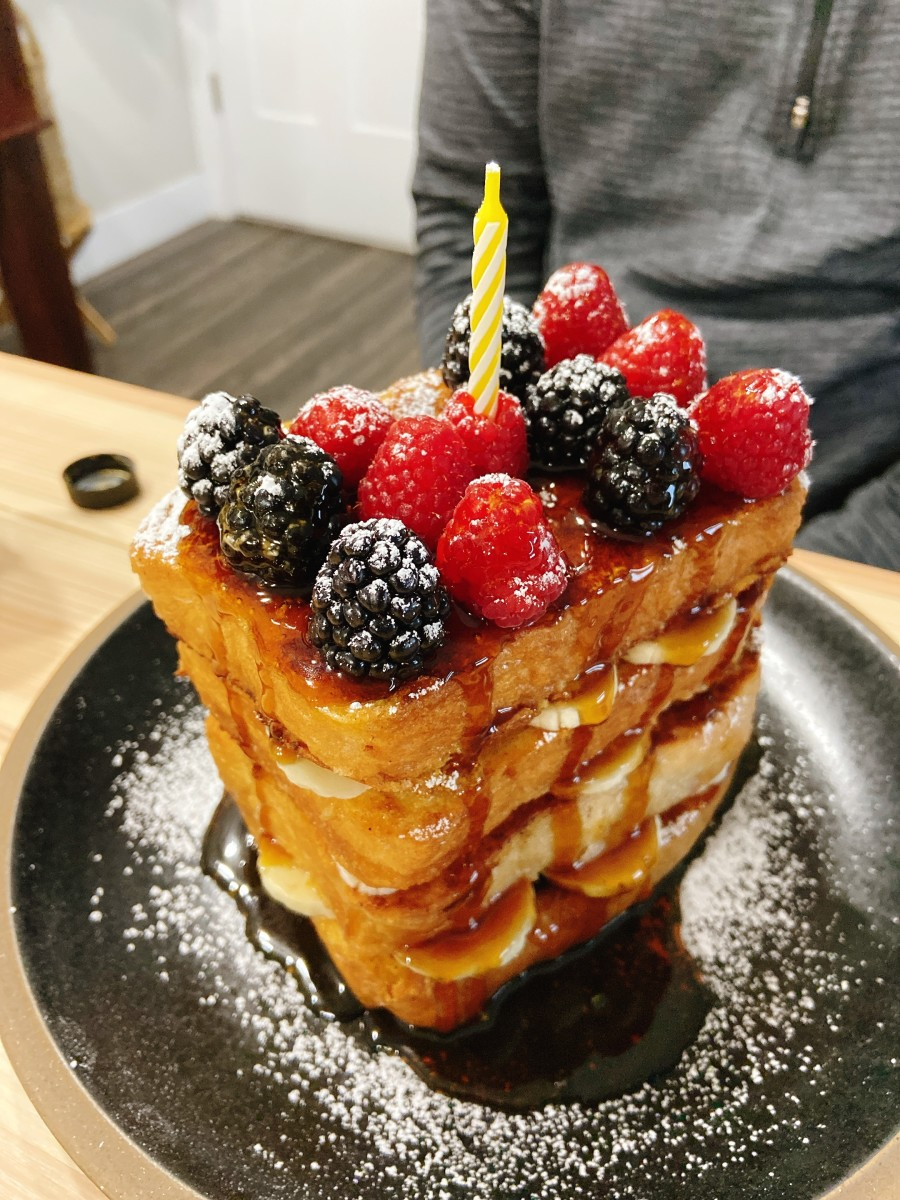 Delicious and beautiful French toast birthday cake for my husband. Serve with a generous drizzle of his favorite maple syrup.
