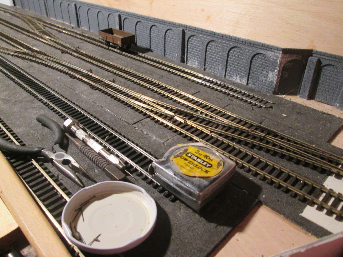 Overview of Bishopthorpe Yard (with 'tools of the trade'), facing left-hand points allow access to the Down Main from the goods and livestock siding and platform.