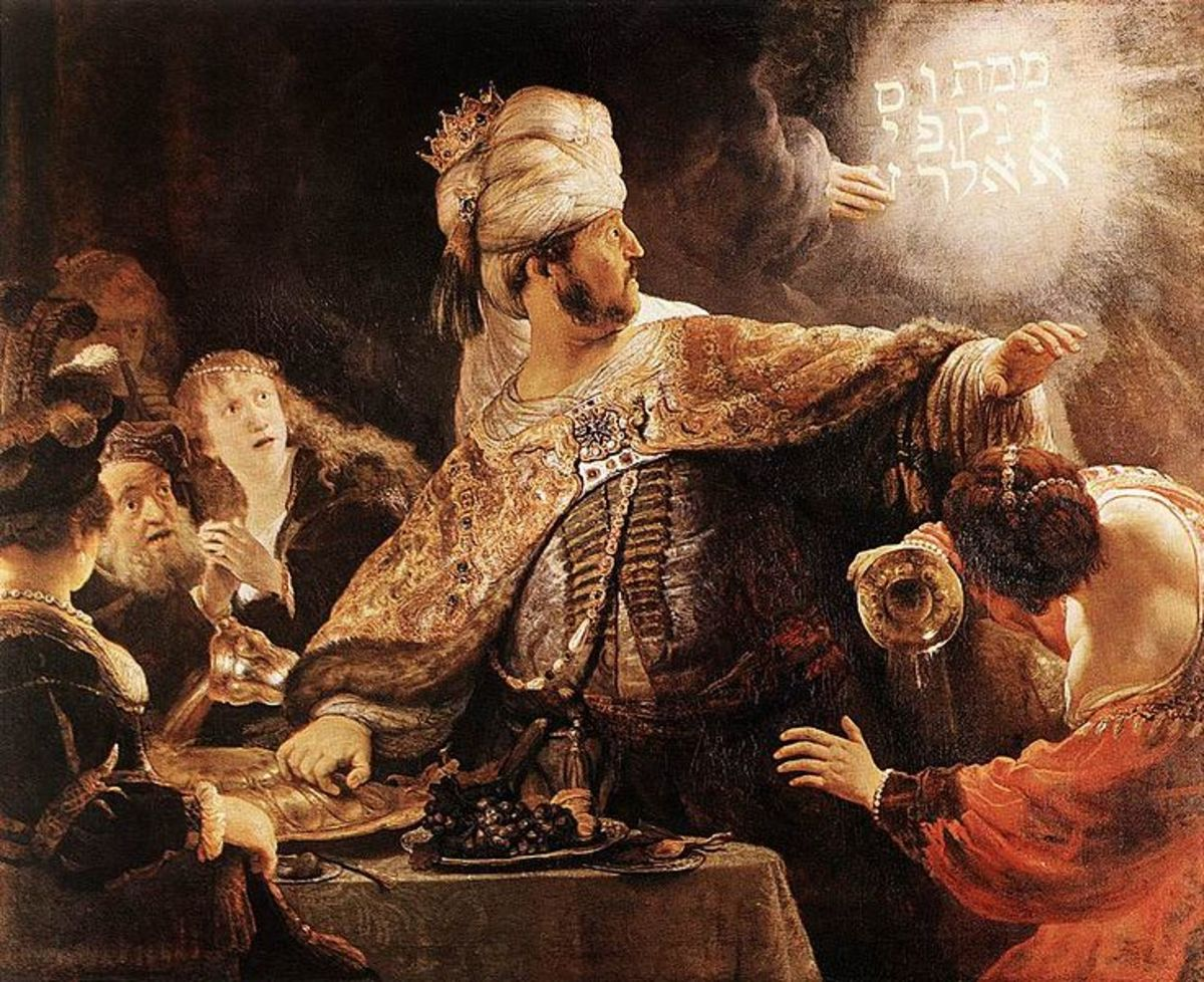 King Belshazzar is alarmed by the mysterious handwriting on the wall (Daniel 5:5-9)