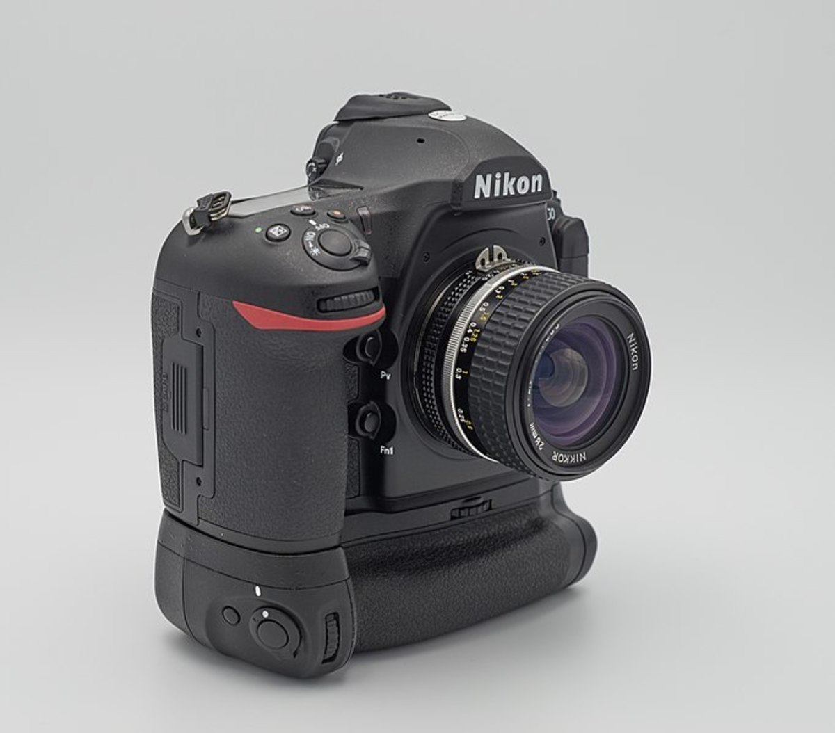 Nikon D850 mounted with battery grip.