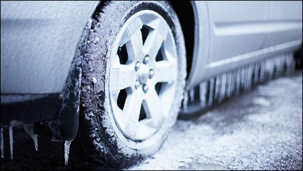 Never drive your car with summer tires during the winter season. Invest in a good set of winter tires to help keep you safe on snowy roads.