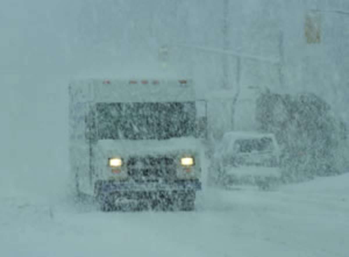 Keep a safe distance from the vehicle in front of you. Visibility can be very low during winter driving.