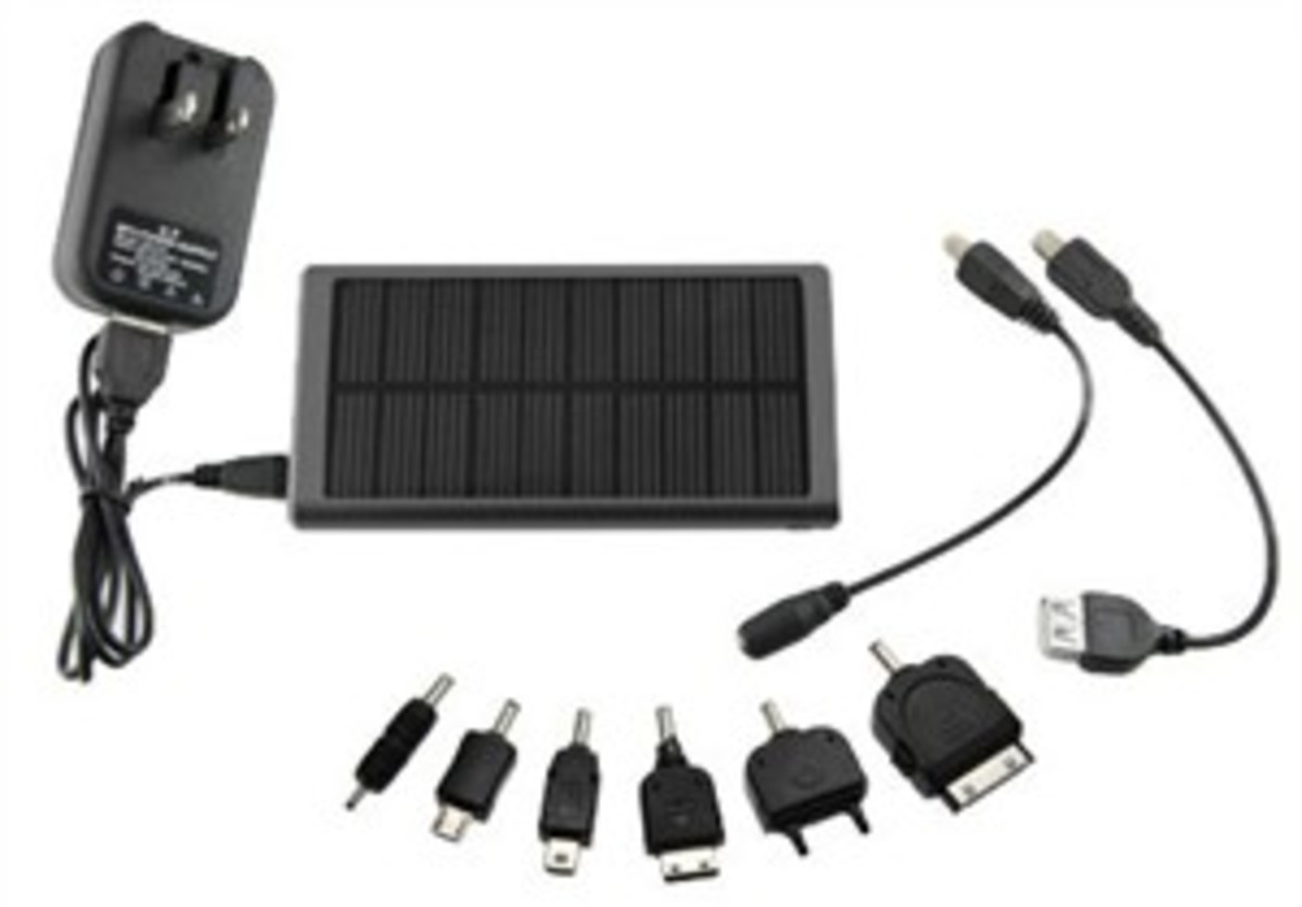 Good deal on a solar recharger with different connectors.