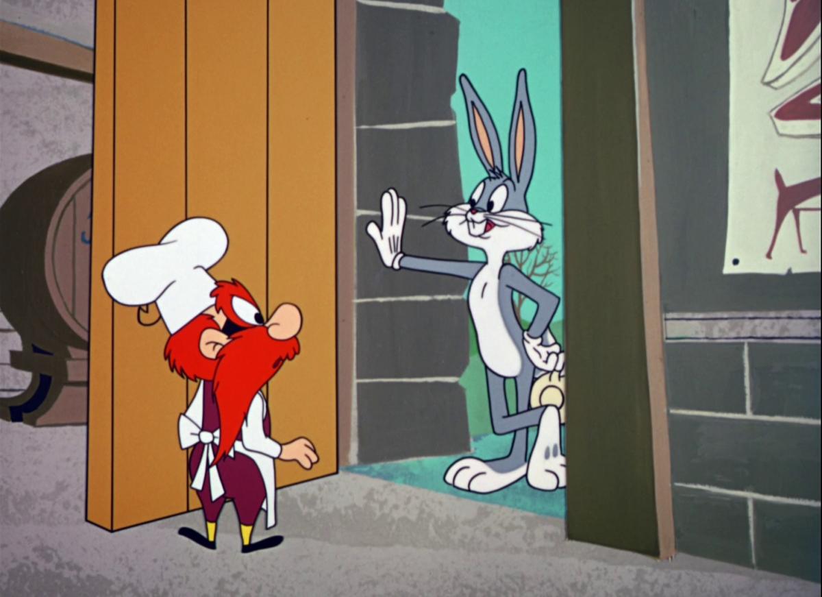 """Yosemite Sam and Bugs in """"Shishkabugs"""""""