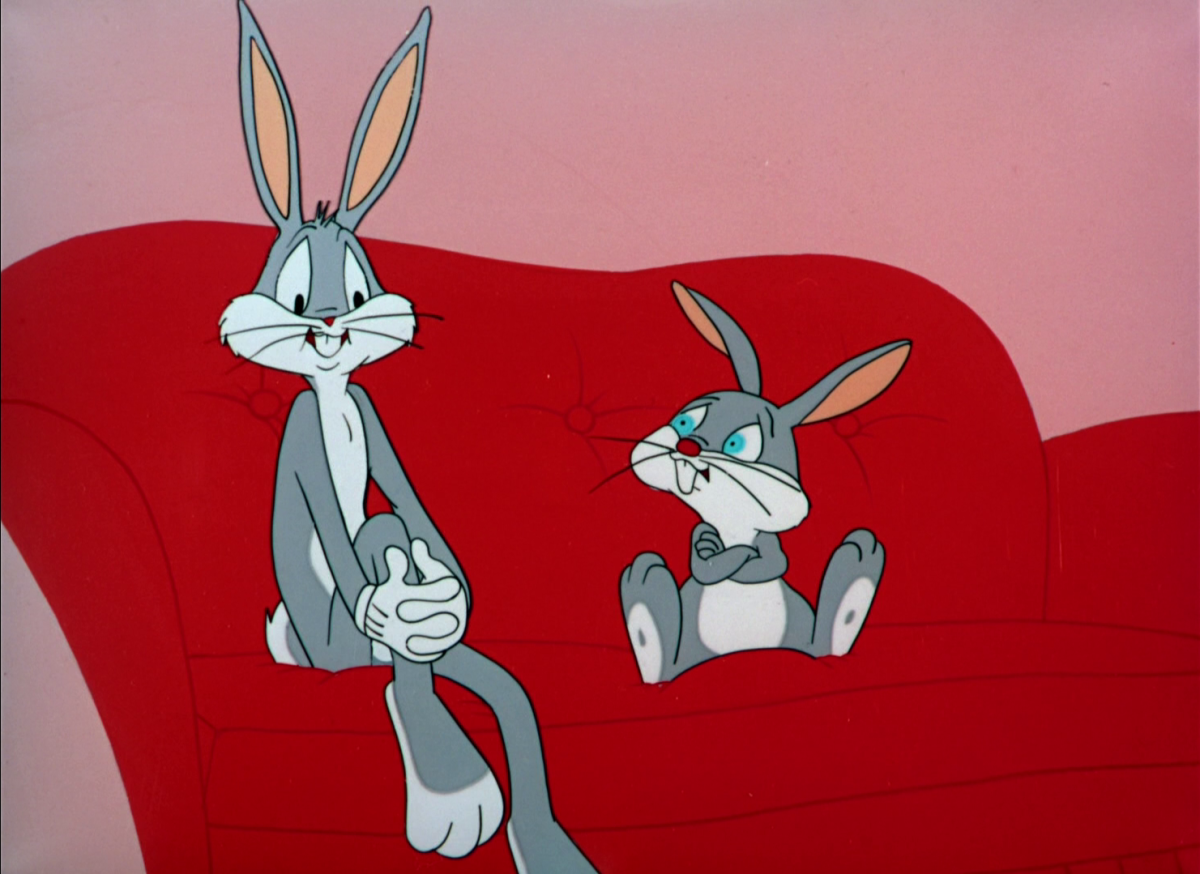 """Bugs and his nephew Clyde Bunny in """"Yankee Doodle Bugs"""""""