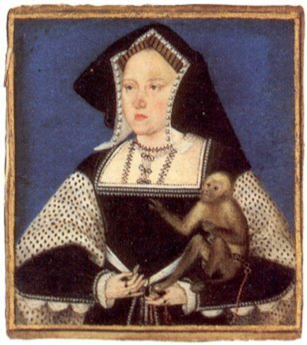 A miniature of Katherine holding a monkey.