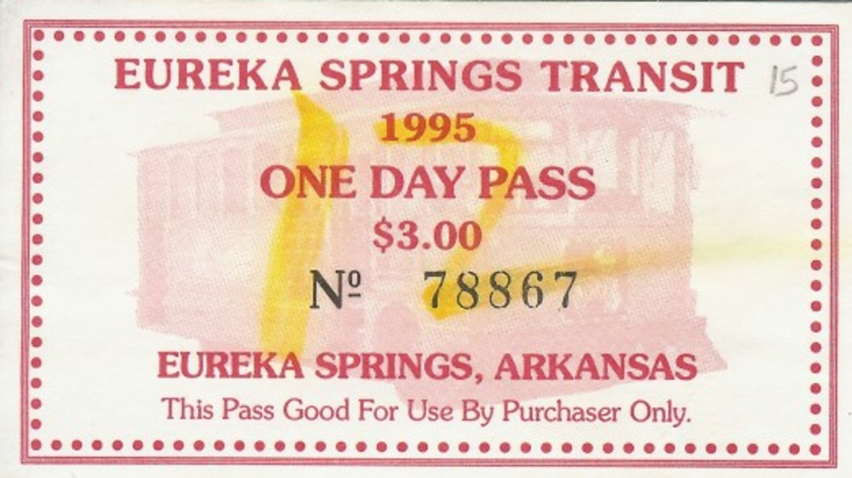 Trolley ticket stub enabling one to get all around Eureka Springs easily