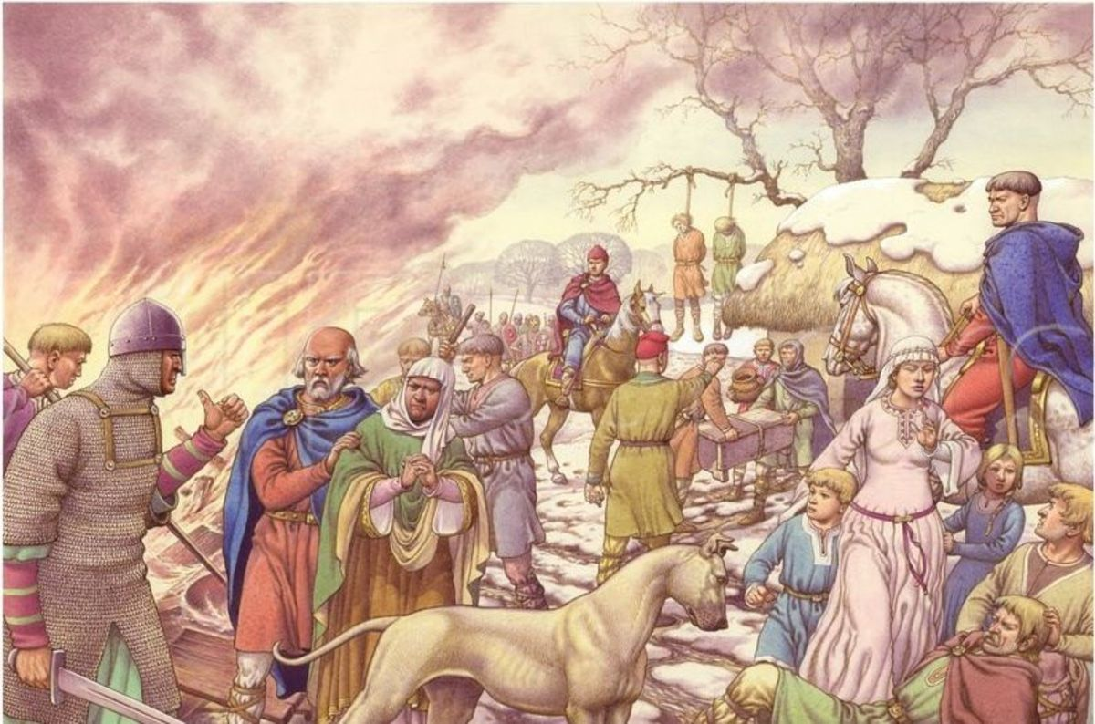After the aetheling Eadgar and the northern nobles withdrew north to Scotland in the late summer of 1069 William saw fit to punish those left behind, guilty or not. Crops and homes were burnt, livestock run off or killed, people killed for going back