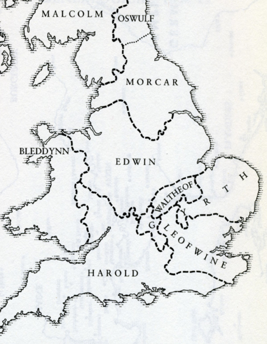Earldoms, 1065 after Tostig's ousting in October. Northumbria is mostly Morkere's. Oswulf holds land north of the Tyne. After trying to take on 'Hardradi' on his own a large tract of land was handed by Harold to Maerleswein, shire reeve of Lincoln