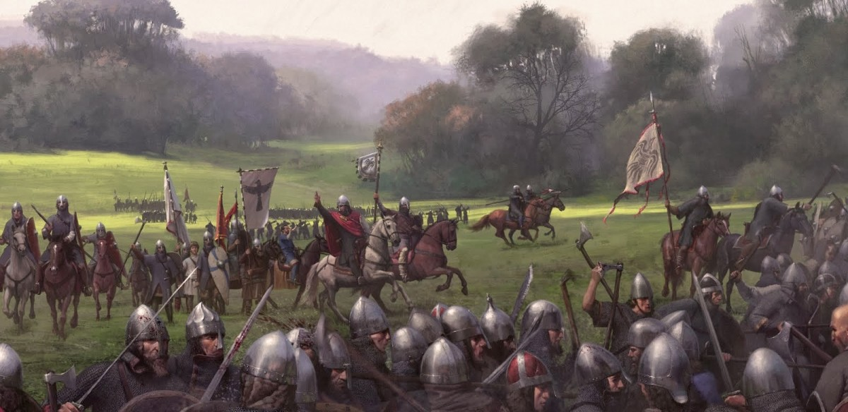 Knut clears the field after defeating Eadmund 'Ironside' at Ashingdon in 1016