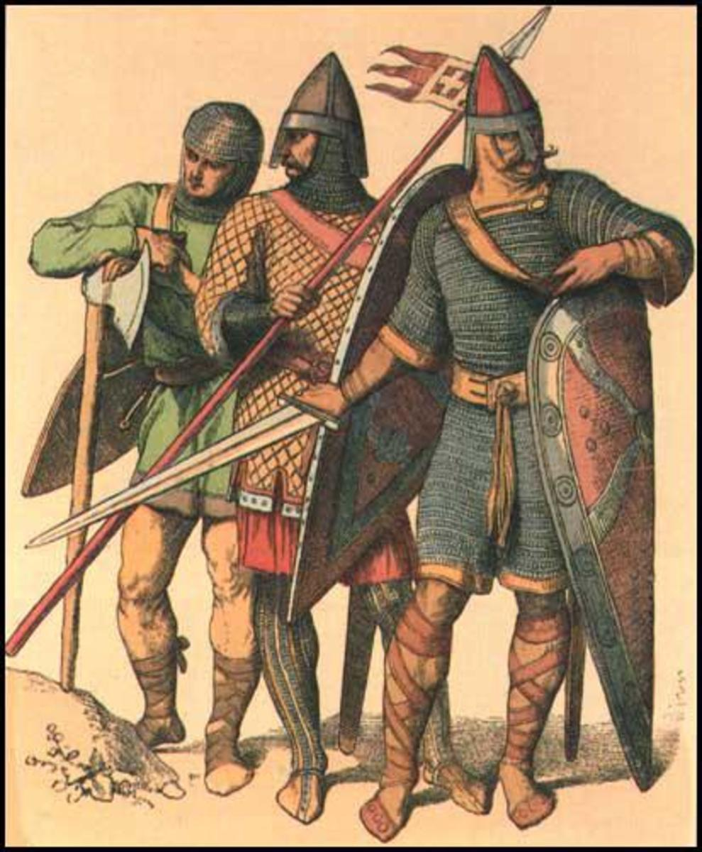 Huscarls - 'huscarlar' - introduced to England by Knut. The king had his own, as did each earl. They were funded by owning enough land each to pay for their weaponry, horses, mailcoats and household