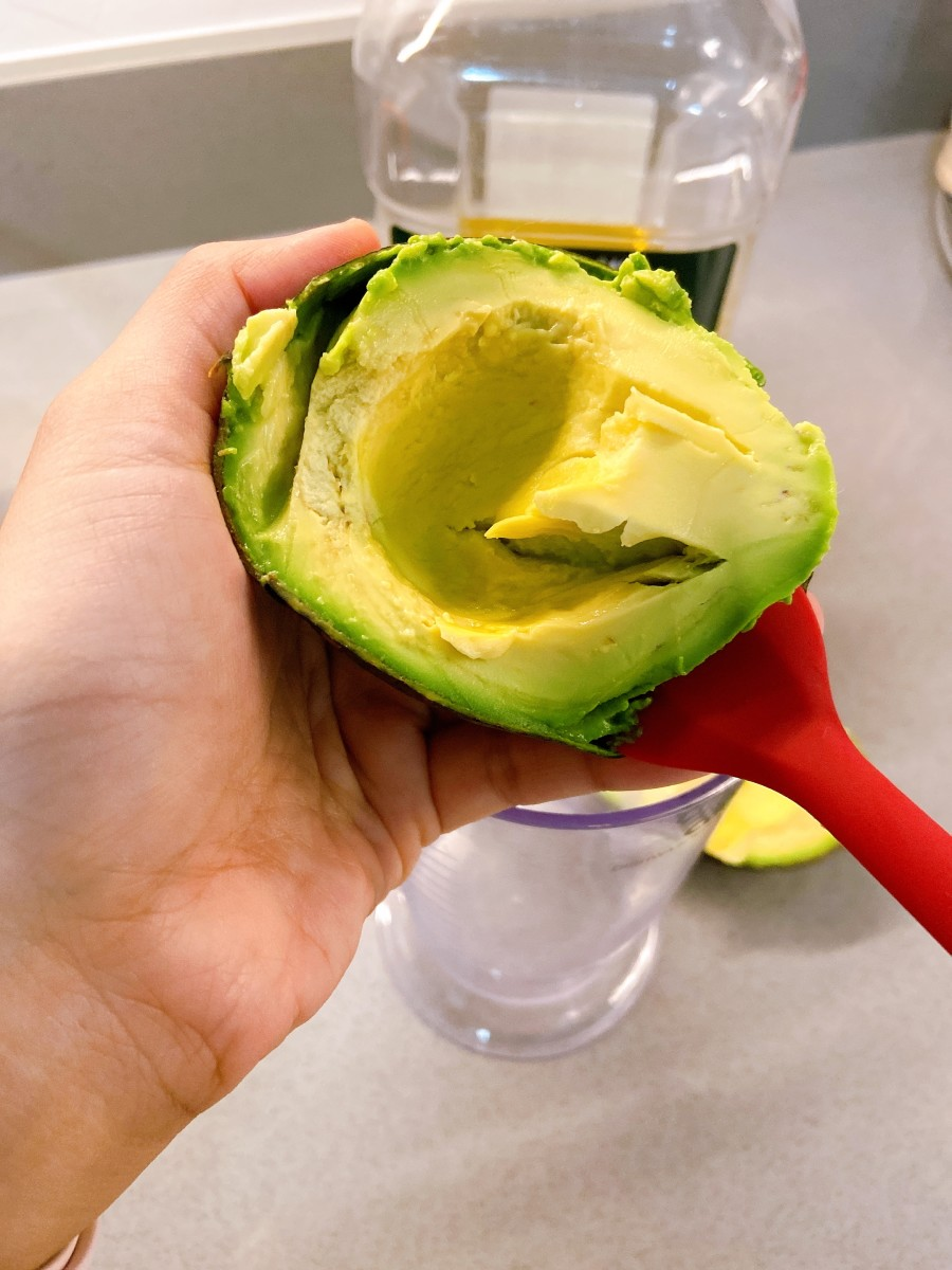 Use a spoon or spatula to scoop the flesh out and transfer it to a blender.