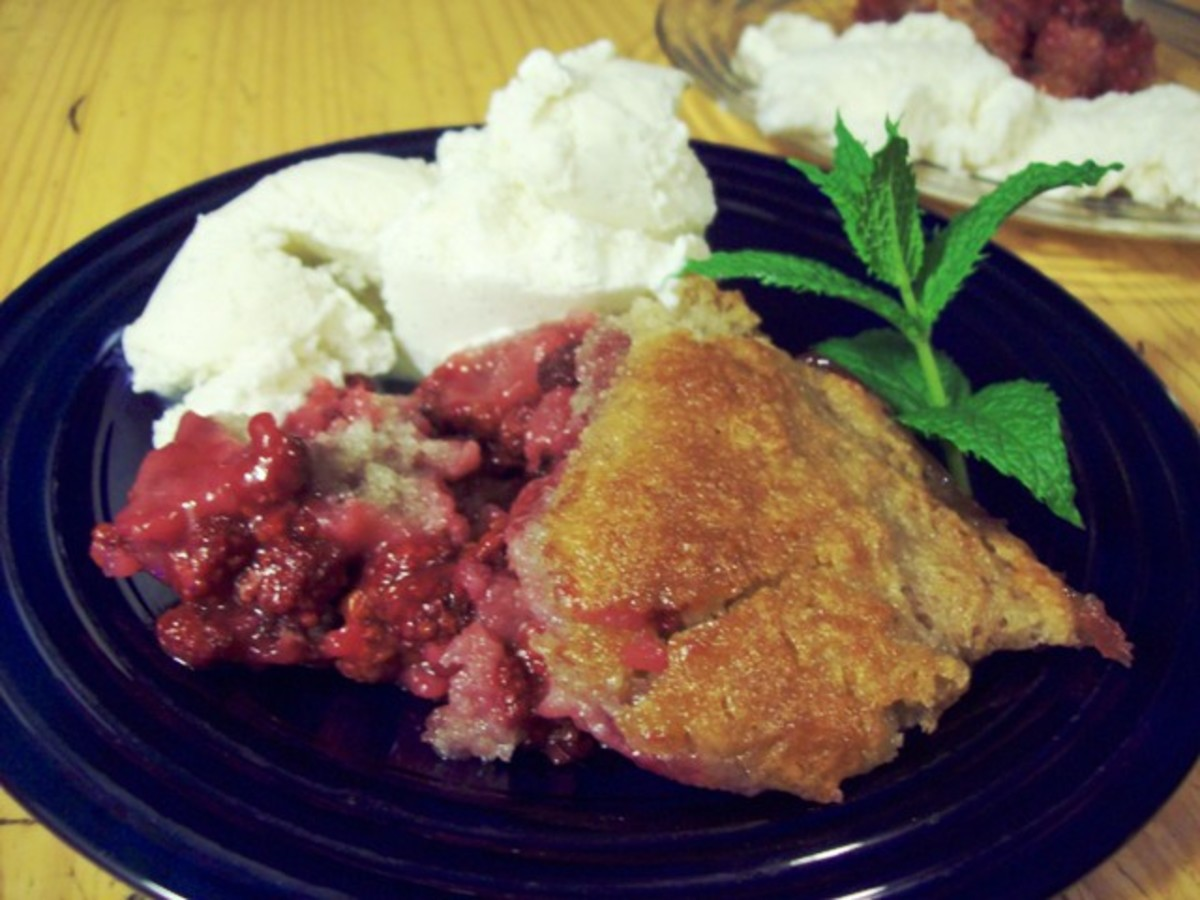 Easy raspberry cobbler.