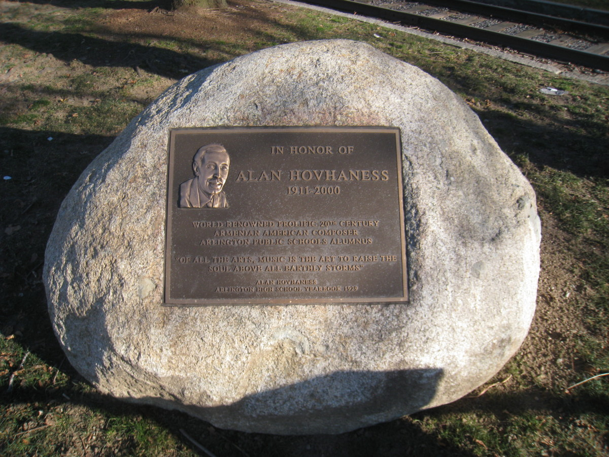 Memorial to Hovhaness in Whittemore Park, Arlington, USA