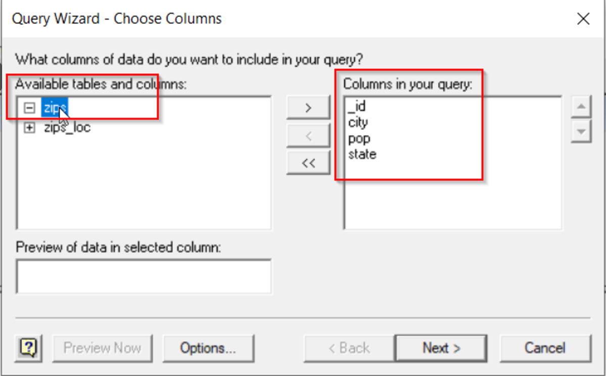 Select required tables and columns