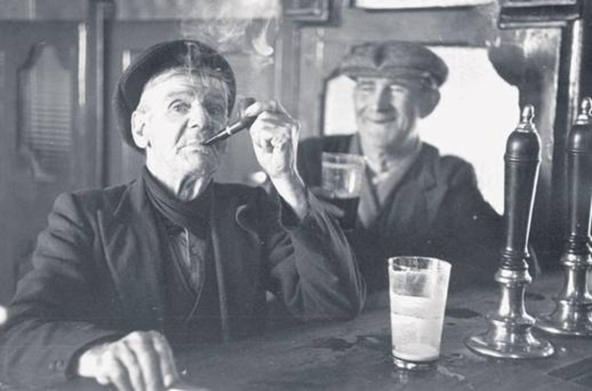 Irish gents enjoying a drink and pipe