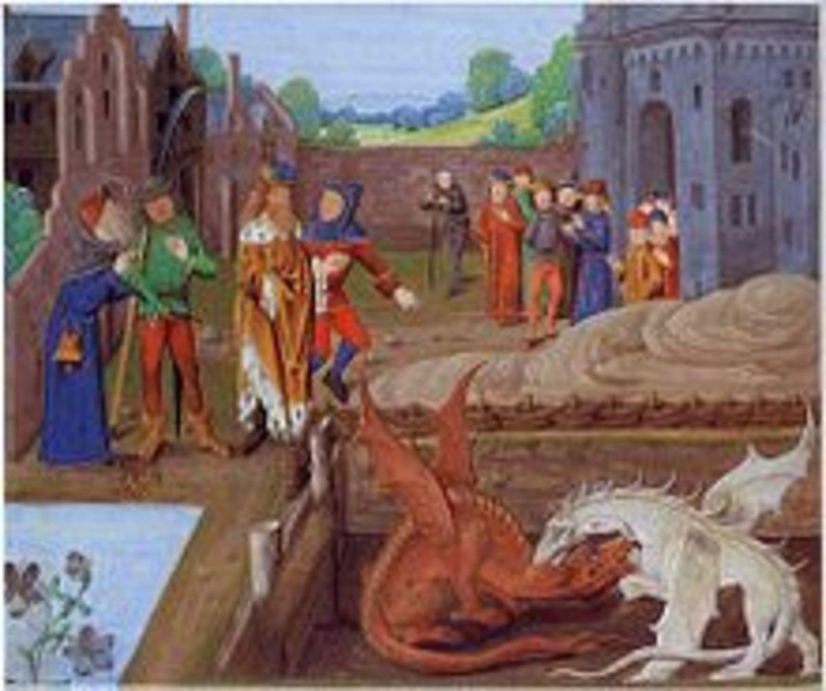 Welsh vs. English dragon -- 15th century
