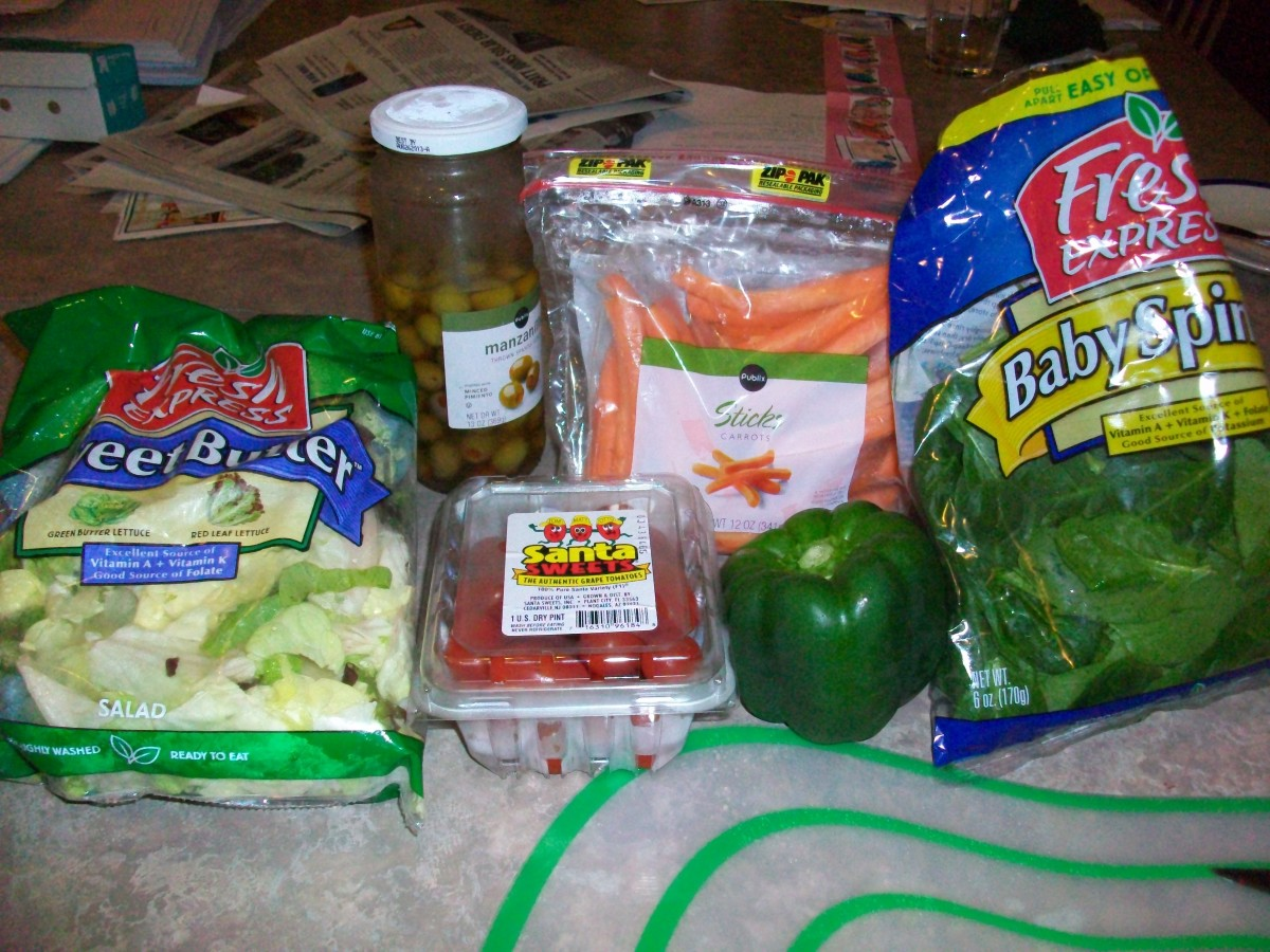 The ingredients for a basic green salad at our house