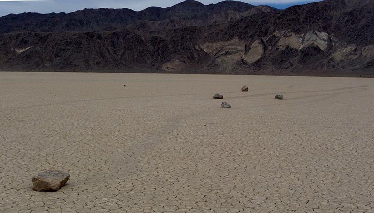 Sailing Stones in California's Death Valley.