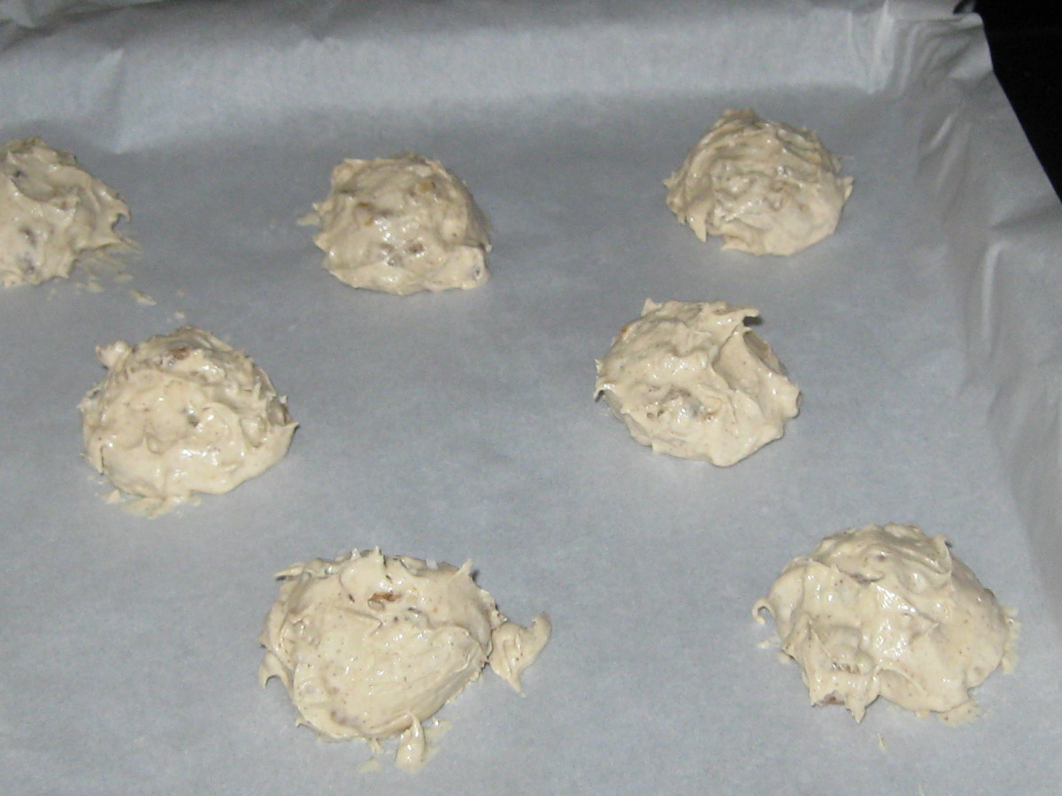 Dough on parchment paper ready for the oven