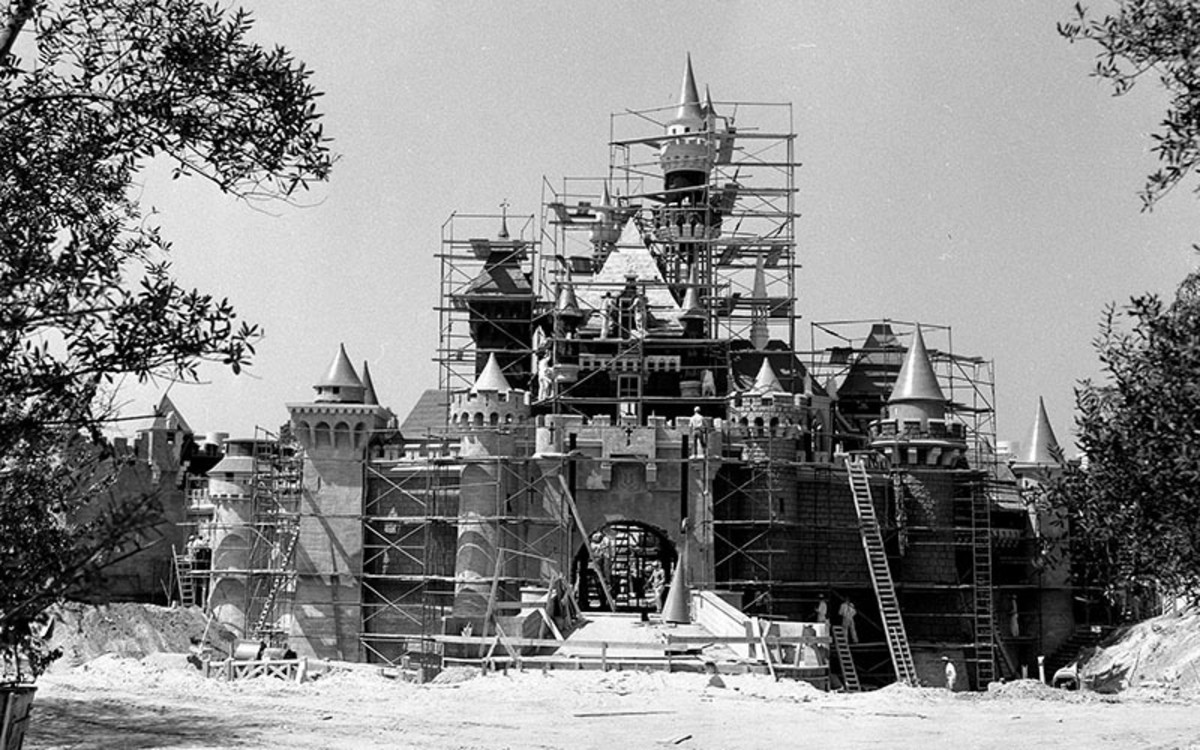 Sleeping Beauty's Castle while still under construction.