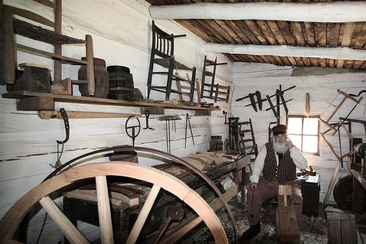 Re-enactment of an early 1800's Wheel Wright shop