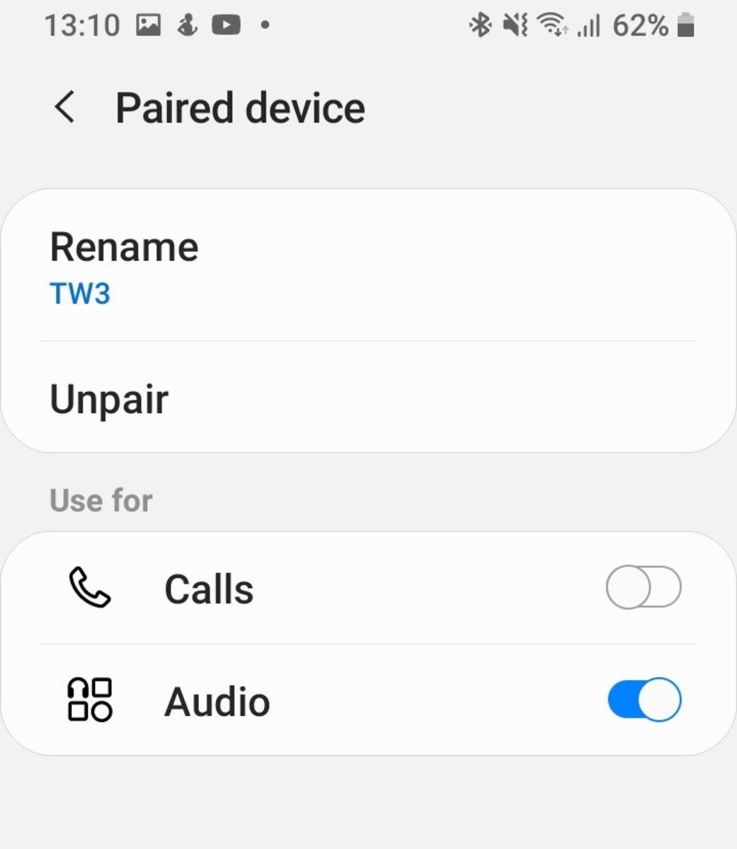 To unpair earbuds that haven't been synced with each other but are paired to a device you click on unpair in Bluetooth.  This will remove that device from your recent Bluetooth pairing list. You remove both earbuds from the paired list