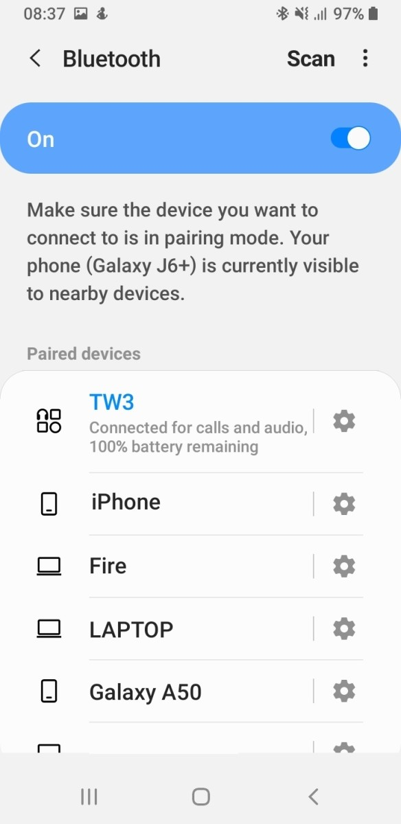 Once your device is connected, it should say connected for calls and audio.