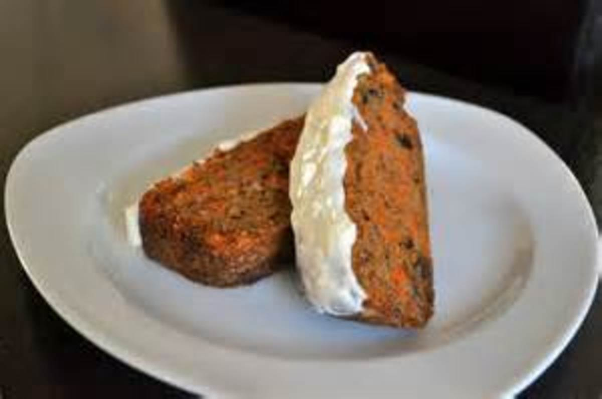 Carrot Cake with Cream Cheese Frosting made in a loaf pan.