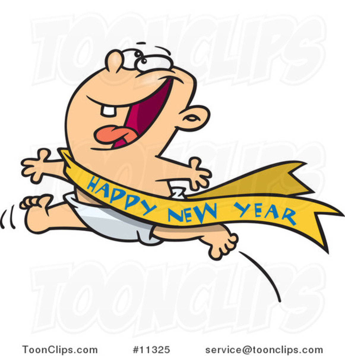 Excited Baby New Year running