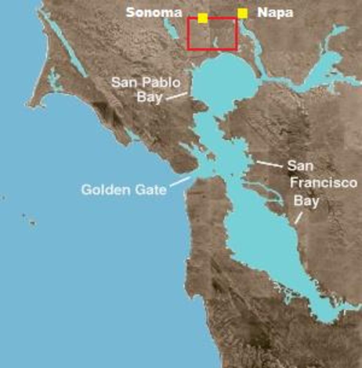 The Carneros AVA in relation to San Pablo Bay.